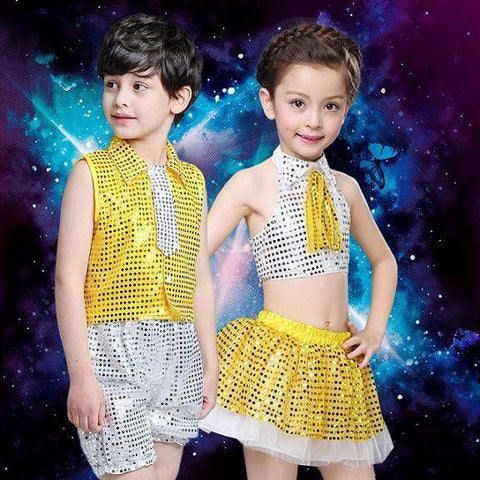 (10sets) June 1 children's private children show clothing runway stage clothing glitter jazz dance boy girl dance wear with hat, Yellow / 130cm, www.suppashoppa.co.uk
