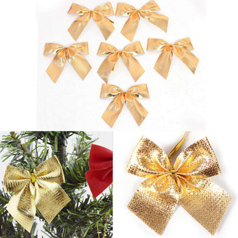 12 Pcs Christmas Tree Bow Decoration Baubles New Year Ornaments Santa Claus Christmas Decoration