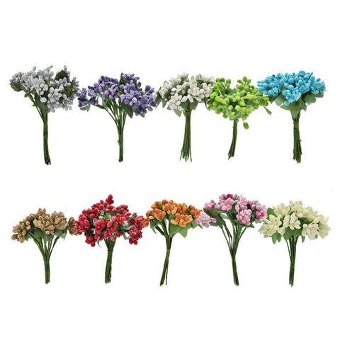12Pcs/Bouquet DIY Scrapbooking Decorative Wreath Fake Flowers Artificial Bud Stamen Berry Bacca Flower For Wedding Decoration