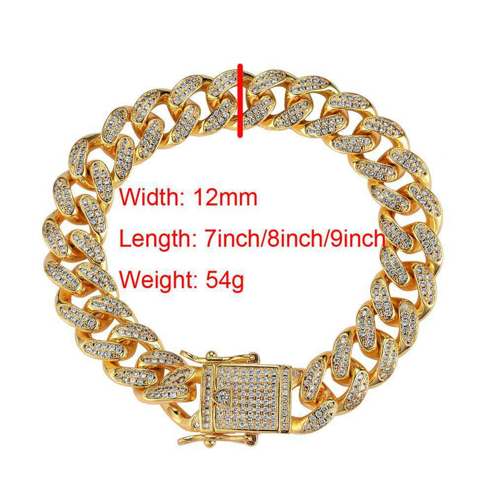 12mm Hip Hop Full Iced Out Bling Bling Bangle Bracelet Copper Zircon Link Chain Bracelet Fashion Jewelry for Rappers