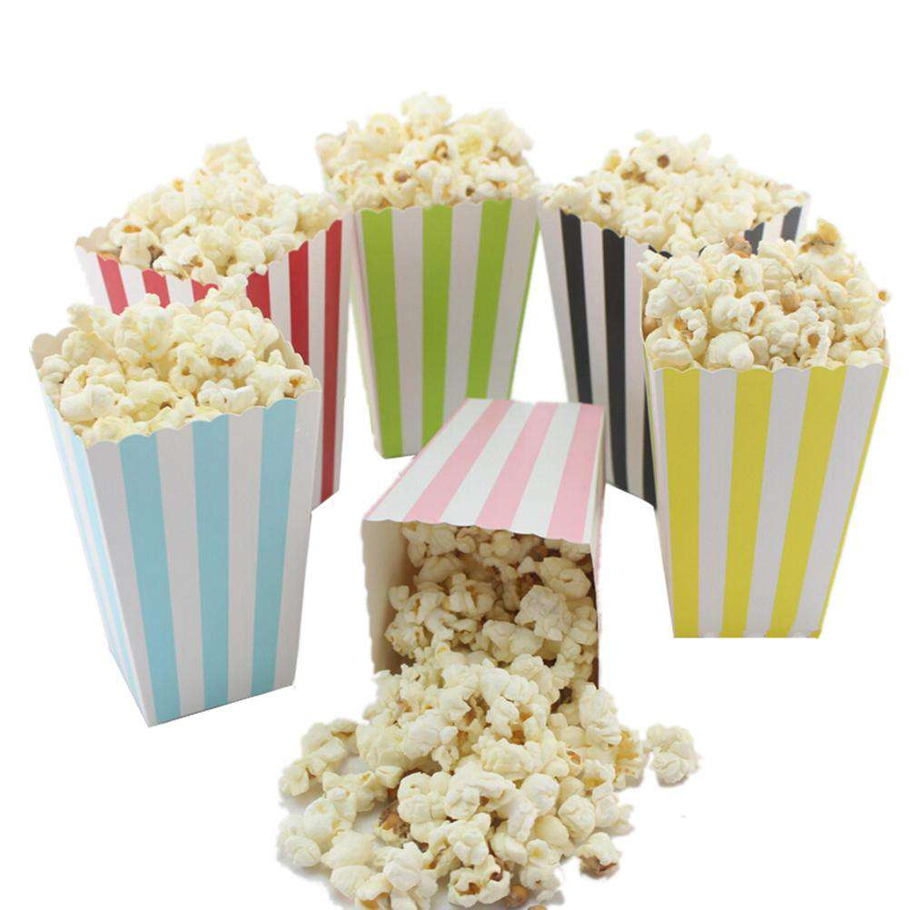 12pcs Colorful Paper Popcorn gift candy movie Boxes Loot bags kids Birthday Party Spot Supplies Boy and Girl