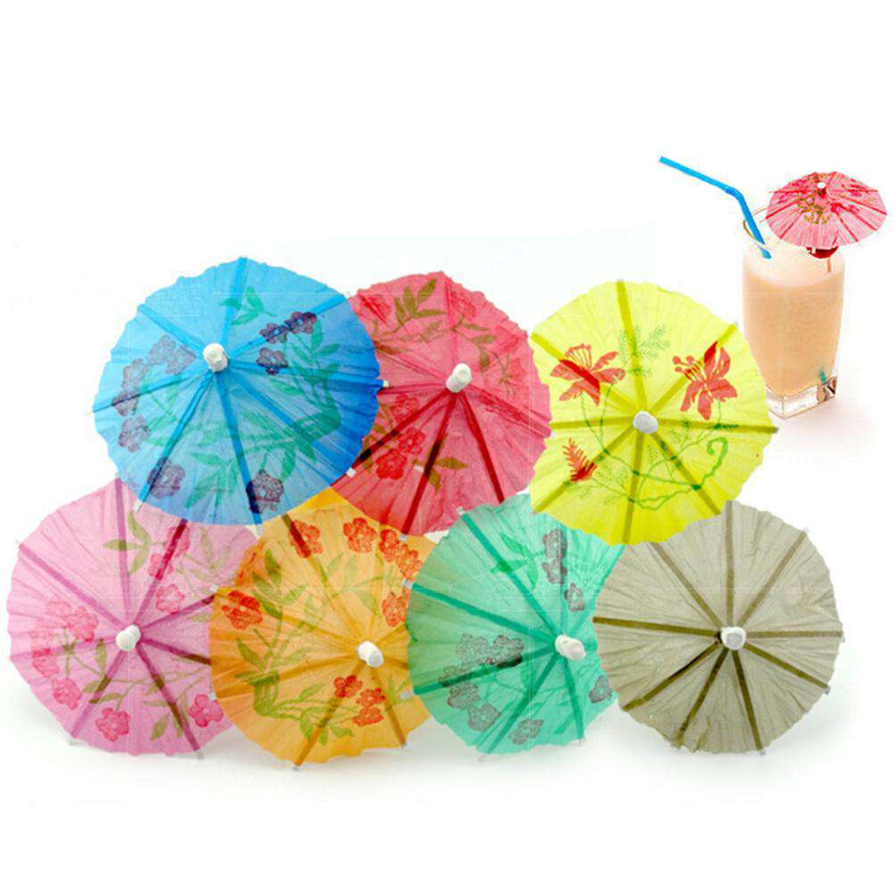 144Pcs Paper Cocktail Parasols Umbrellas drinks picks wedding Event & Party Supplies Holidays