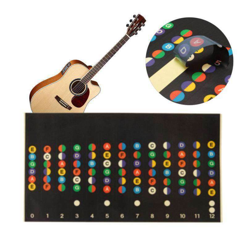 Professional Guitar Scale Sticker Musical Alphabet Stickers Coded Note Strips For Guitar Trainer Learner Parts, , www.suppashoppa.co.uk