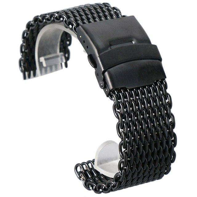 18mm 20mm 22mm 24mm Stainless Steel Black/ Silver/ Gold Watchband Mesh Web Excellent Quality Wristwatches Strap + 2 Spring Bars, Black / 20mm, www.suppashoppa.co.uk