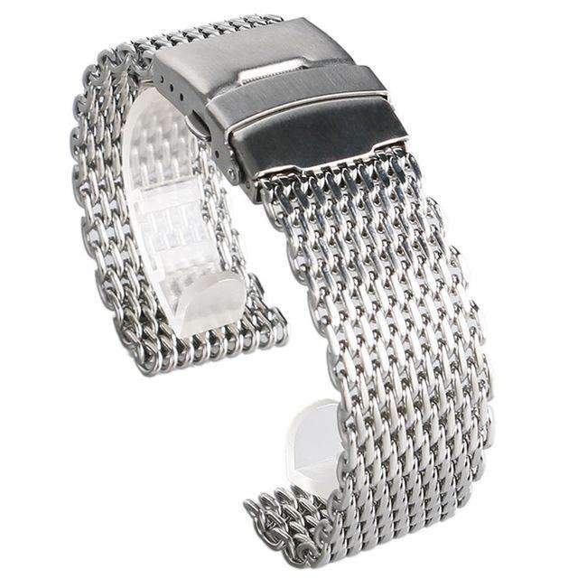 18mm 20mm 22mm 24mm Stainless Steel Black/ Silver/ Gold Watchband Mesh Web Excellent Quality Wristwatches Strap + 2 Spring Bars, Silver / 20mm, www.suppashoppa.co.uk