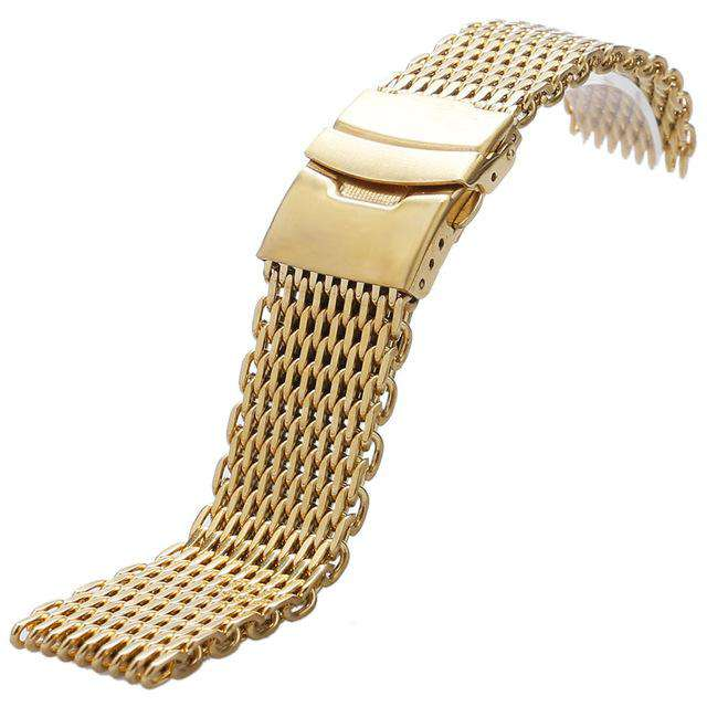 18mm 20mm 22mm 24mm Stainless Steel Black/ Silver/ Gold Watchband Mesh Web Excellent Quality Wristwatches Strap + 2 Spring Bars, Gold / 18mm, www.suppashoppa.co.uk