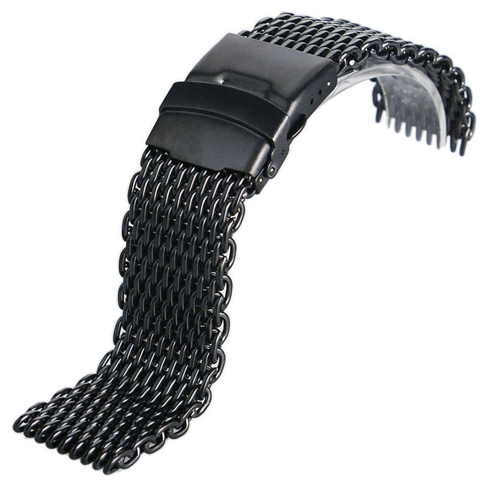 18mm 20mm 22mm 24mm Stainless Steel Black/ Silver/ Gold Watchband Mesh Web Excellent Quality Wristwatches Strap + 2 Spring Bars, , www.suppashoppa.co.uk