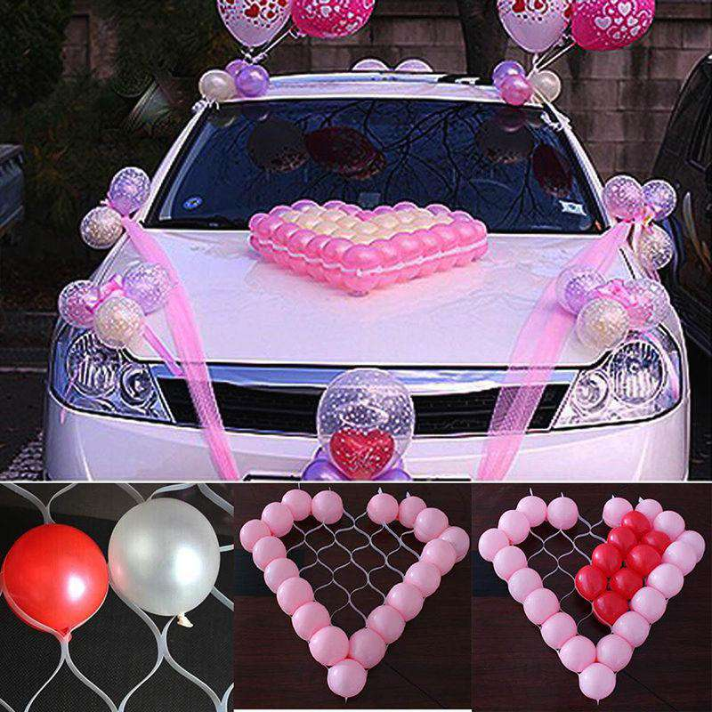 1Pc Heart Shape Mesh Model 38 Grids Net Frame Balloon Holder Wedding Car Holiday Party Decoration, , www.suppashoppa.co.uk