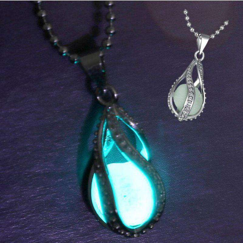 1Pc Rhinsetone Teardrop Glow In Dark Necklace Women Glowing Waterdrop Pendant Necklace, Default title 0, www.suppashoppa.co.uk
