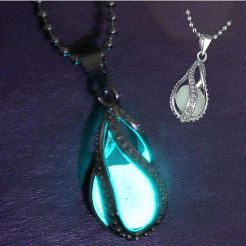 1Pc Rhinsetone Teardrop Glow In Dark Necklace Women Glowing Waterdrop Pendant Necklace, , www.suppashoppa.co.uk