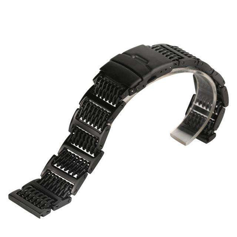 20/22/24mm Silver/Black Mesh Stainless Steel Watchband Luxury Adjustable Fold Clasp Watches Strap for Men Replacement Bracelet