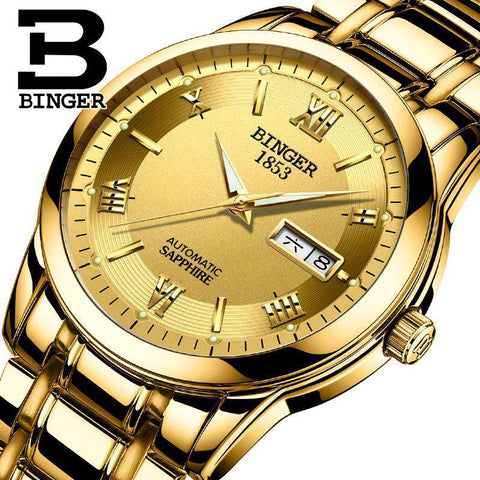 2017 BINGER Luxury Brand Watches Men Automatic self-wind Fashion Casual Male Sports Mechanical Watch Full Steel Gold Wristwatch