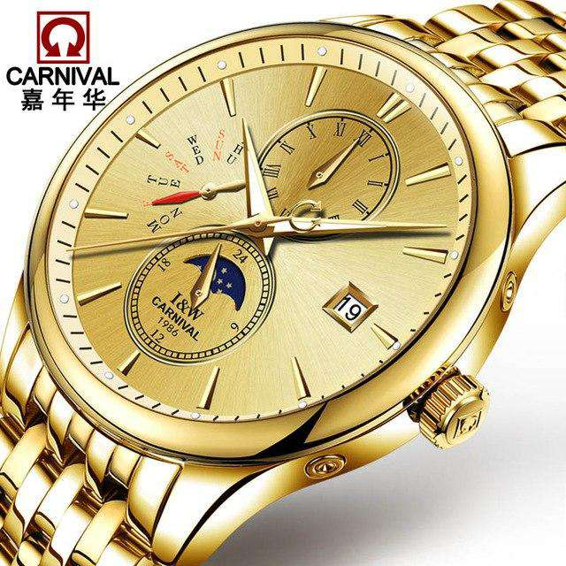 2017 Men Watches Luxury Top Brand CARNIVAL Sport Mechanical Watch Gold Clock Men Automatic Wristwatch With Moon Phase Full Steel, 04, www.suppashoppa.co.uk