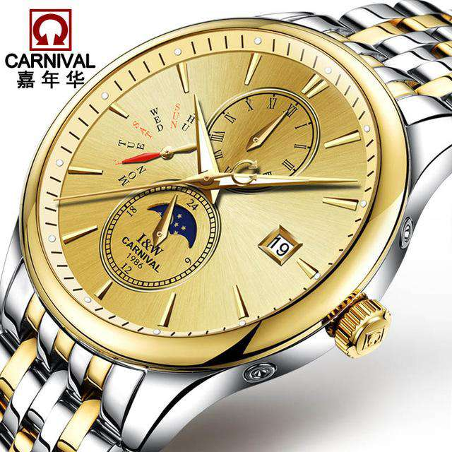 2017 Men Watches Luxury Top Brand CARNIVAL Sport Mechanical Watch Gold Clock Men Automatic Wristwatch With Moon Phase Full Steel, 03, www.suppashoppa.co.uk