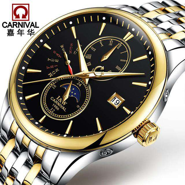 2017 Men Watches Luxury Top Brand CARNIVAL Sport Mechanical Watch Gold Clock Men Automatic Wristwatch With Moon Phase Full Steel, 02, www.suppashoppa.co.uk