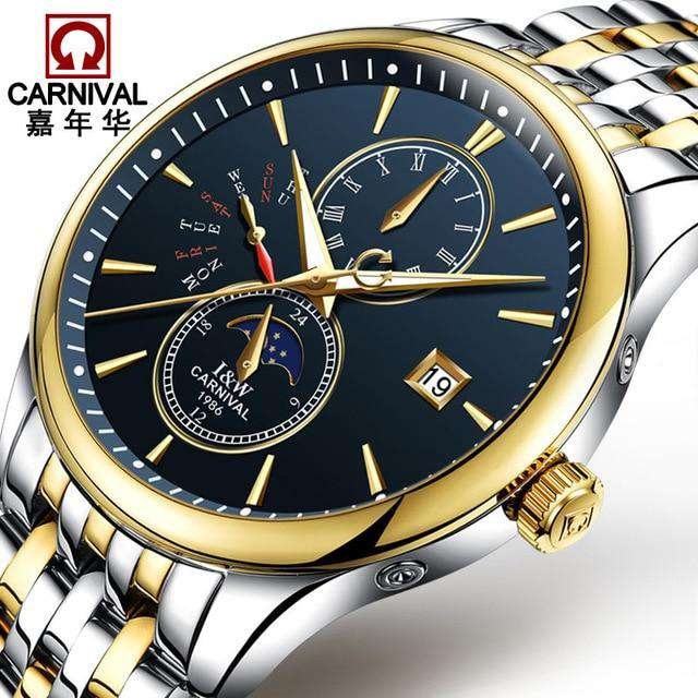 2017 Men Watches Luxury Top Brand CARNIVAL Sport Mechanical Watch Gold Clock Men Automatic Wristwatch With Moon Phase Full Steel, 05, www.suppashoppa.co.uk
