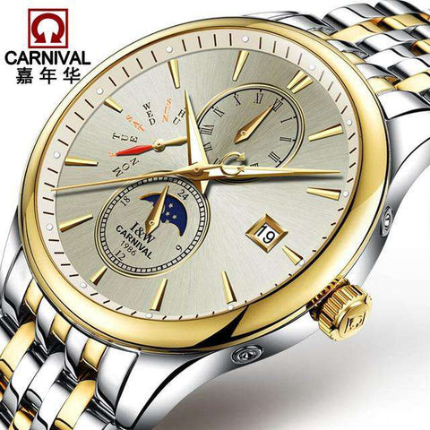 2017 Men Watches Luxury Top Brand CARNIVAL Sport Mechanical Watch Gold Clock Men Automatic Wristwatch With Moon Phase Full Steel, 01, www.suppashoppa.co.uk