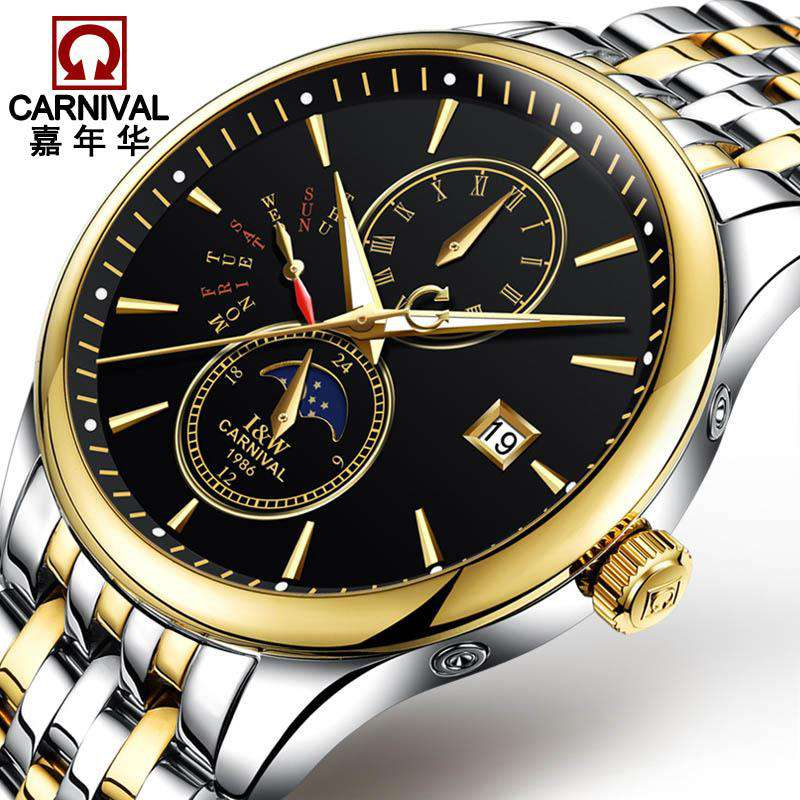 2017 Men Watches Luxury Top Brand CARNIVAL Sport Mechanical Watch Gold Clock Men Automatic Wristwatch With Moon Phase Full Steel, , www.suppashoppa.co.uk
