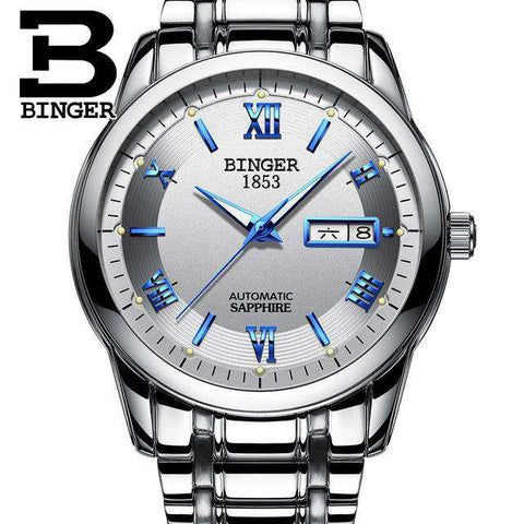 2017 Men's BINGER Brand Luxury Automatic Watch men Fashion Casual 30M Date Clcok Business Wrist watches Full Steel reloj hombre, 02, www.suppashoppa.co.uk