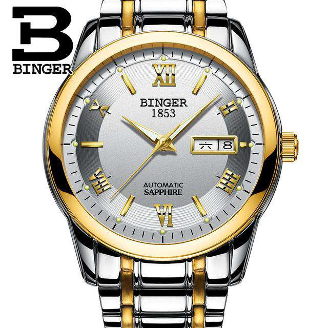 2017 Men's BINGER Brand Luxury Automatic Watch men Fashion Casual 30M Date Clcok Business Wrist watches Full Steel reloj hombre, 04, www.suppashoppa.co.uk