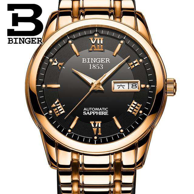 2017 Men's BINGER Brand Luxury Automatic Watch men Fashion Casual 30M Date Clcok Business Wrist watches Full Steel reloj hombre, 12, www.suppashoppa.co.uk