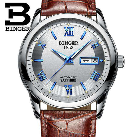 2017 Men's BINGER Brand Luxury Automatic Watch men Fashion Casual 30M Date Clcok Business Wrist watches Full Steel reloj hombre, 13, www.suppashoppa.co.uk