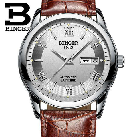 2017 Men's BINGER Brand Luxury Automatic Watch men Fashion Casual 30M Date Clcok Business Wrist watches Full Steel reloj hombre, 14, www.suppashoppa.co.uk