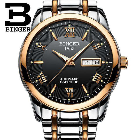 2017 Men's BINGER Brand Luxury Automatic Watch men Fashion Casual 30M Date Clcok Business Wrist watches Full Steel reloj hombre, 07, www.suppashoppa.co.uk