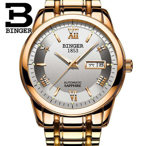 2017 Men's BINGER Brand Luxury Automatic Watch men Fashion Casual 30M Date Clcok Business Wrist watches Full Steel reloj hombre, 11, www.suppashoppa.co.uk