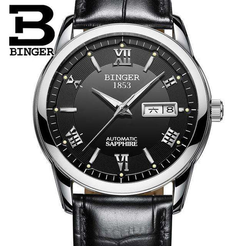 2017 Men's BINGER Brand Luxury Automatic Watch men Fashion Casual 30M Date Clcok Business Wrist watches Full Steel reloj hombre, 15, www.suppashoppa.co.uk