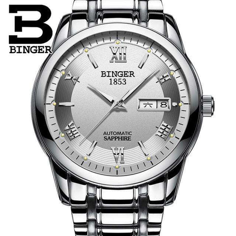 2017 Men's BINGER Brand Luxury Automatic Watch men Fashion Casual 30M Date Clcok Business Wrist watches Full Steel reloj hombre, 01, www.suppashoppa.co.uk