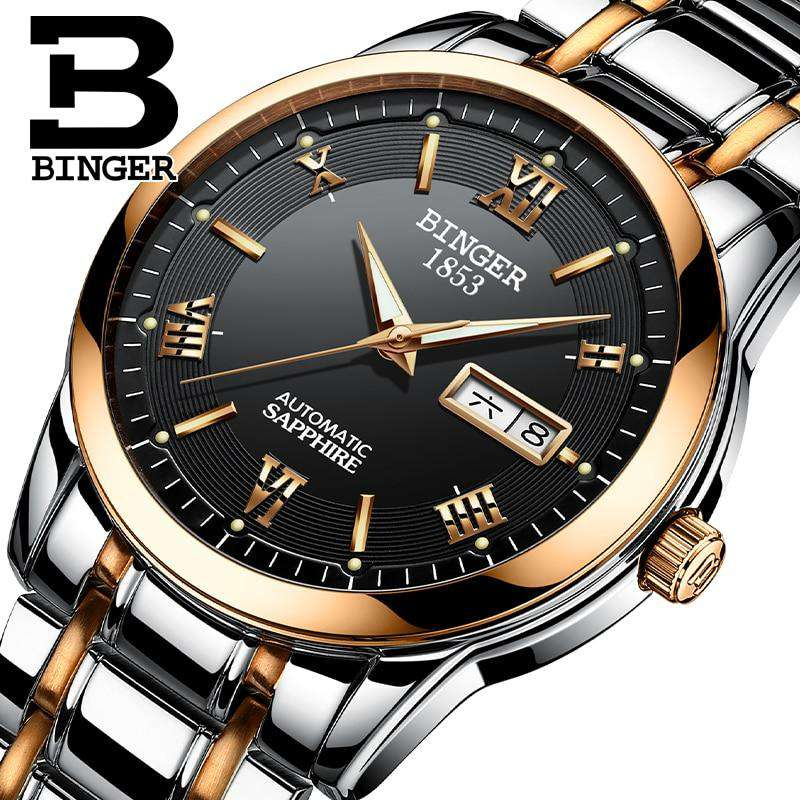 2017 Men's BINGER Brand Luxury Automatic Watch men Fashion Casual 30M Date Clcok Business Wrist watches Full Steel reloj hombre, , www.suppashoppa.co.uk