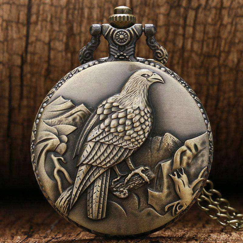 2017 New Antique Big Size Eagle Pocket Watch Retro Bronze Watches Necklace Pendant Gift P453, Default title 0, www.suppashoppa.co.uk