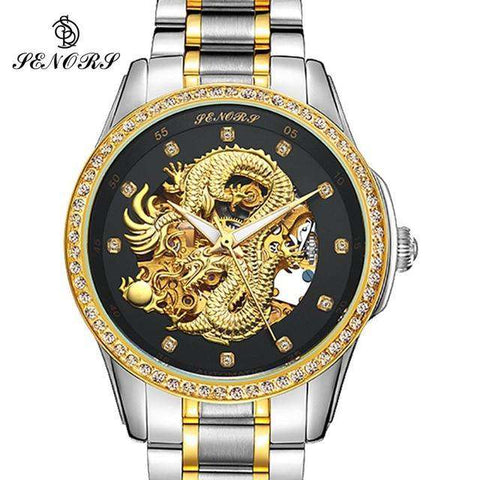 2017 New Automatic Watches Men Luxury Business Watch 3D Carving Dragon Gold Skeleton Watch Male Diamond Night vision, 02, www.suppashoppa.co.uk