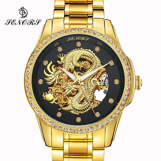 2017 New Automatic Watches Men Luxury Business Watch 3D Carving Dragon Gold Skeleton Watch Male Diamond Night vision, 05, www.suppashoppa.co.uk