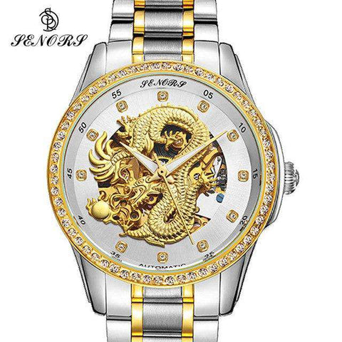 2017 New Automatic Watches Men Luxury Business Watch 3D Carving Dragon Gold Skeleton Watch Male Diamond Night vision, 01, www.suppashoppa.co.uk