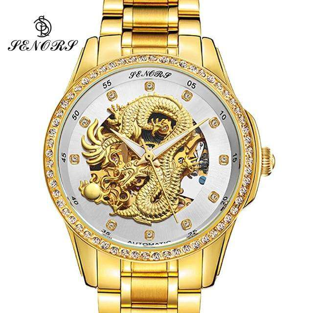 2017 New Automatic Watches Men Luxury Business Watch 3D Carving Dragon Gold Skeleton Watch Male Diamond Night vision, 04, www.suppashoppa.co.uk