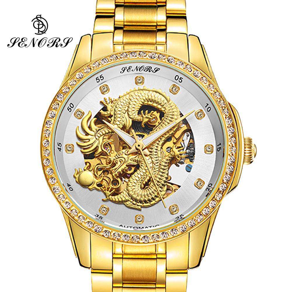 2017 New Automatic Watches Men Luxury Business Watch 3D Carving Dragon Gold Skeleton Watch Male Diamond Night vision, , www.suppashoppa.co.uk