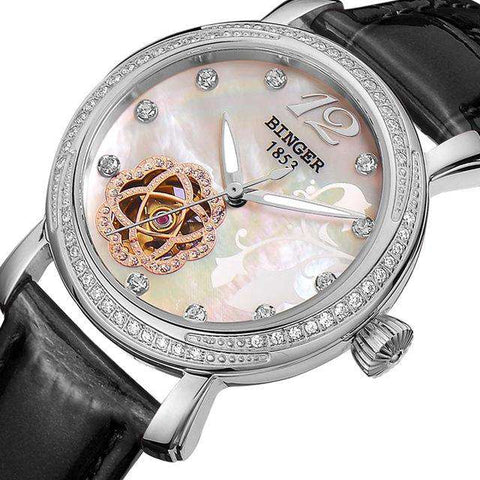 2017 New BINGER Skeleton Movement Rose Golden Dial Automatic Watch Mechanical Wristwatch For Women With White Leather Strap, 05, www.suppashoppa.co.uk