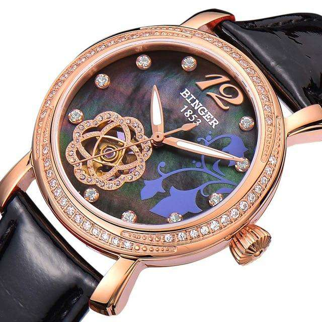 2017 New BINGER Skeleton Movement Rose Golden Dial Automatic Watch Mechanical Wristwatch For Women With White Leather Strap, 03, www.suppashoppa.co.uk