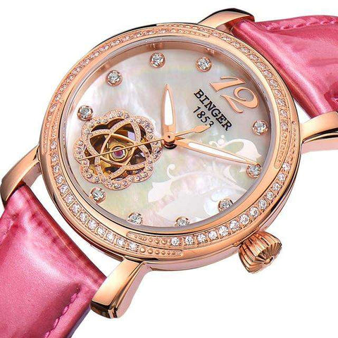 2017 New BINGER Skeleton Movement Rose Golden Dial Automatic Watch Mechanical Wristwatch For Women With White Leather Strap, 01, www.suppashoppa.co.uk