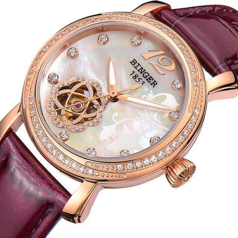 2017 New BINGER Skeleton Movement Rose Golden Dial Automatic Watch Mechanical Wristwatch For Women With White Leather Strap, 04, www.suppashoppa.co.uk