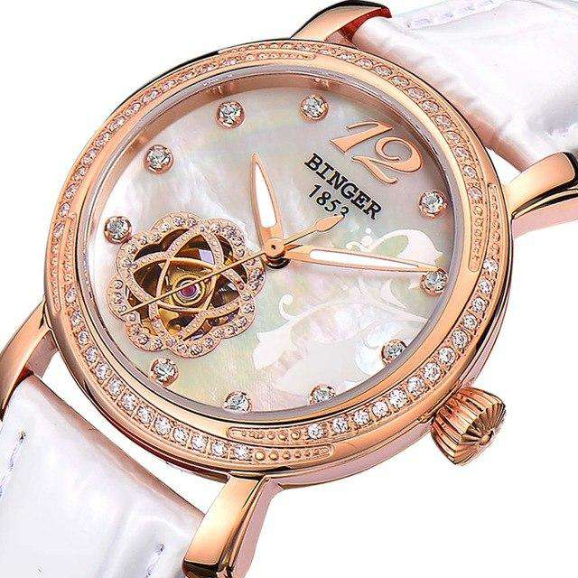 2017 New BINGER Skeleton Movement Rose Golden Dial Automatic Watch Mechanical Wristwatch For Women With White Leather Strap, 02, www.suppashoppa.co.uk
