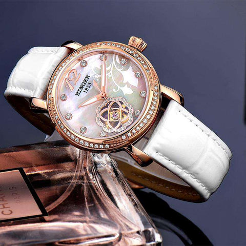 2017 New BINGER Skeleton Movement Rose Golden Dial Automatic Watch Mechanical Wristwatch For Women With White Leather Strap, , www.suppashoppa.co.uk