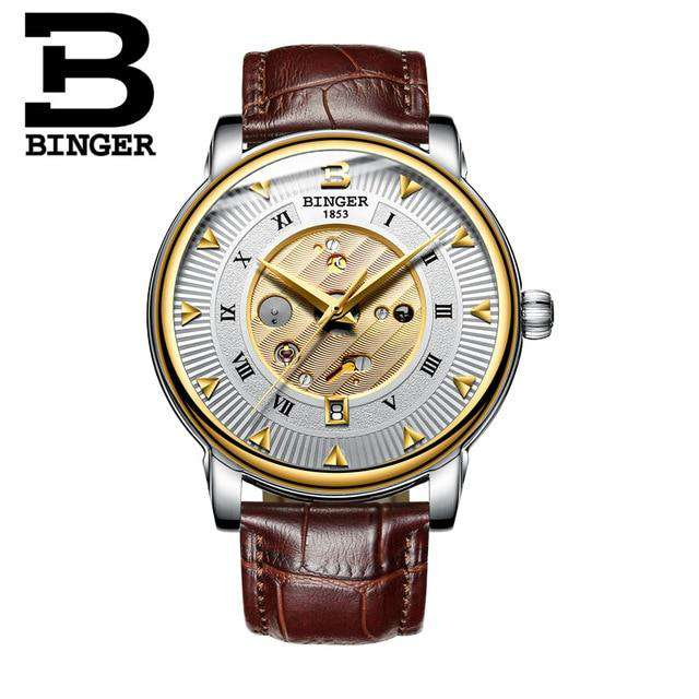 2017 New  Binger Business Mechanical Watches for Men Automatic Self-Wind Round Black Leather Strap 30m Water Resistant, 02, www.suppashoppa.co.uk