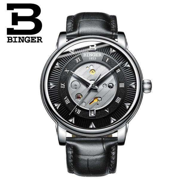2017 New  Binger Business Mechanical Watches for Men Automatic Self-Wind Round Black Leather Strap 30m Water Resistant, 01, www.suppashoppa.co.uk