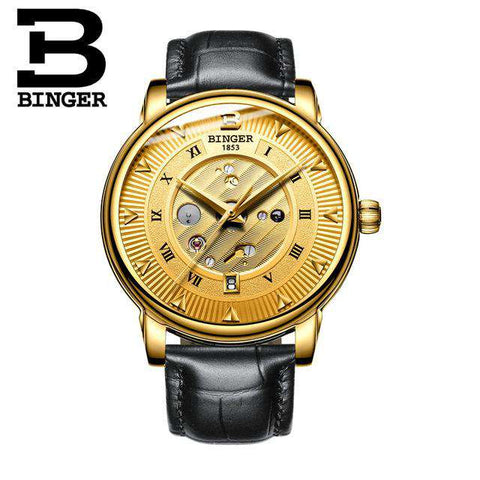 2017 New  Binger Business Mechanical Watches for Men Automatic Self-Wind Round Black Leather Strap 30m Water Resistant, 04, www.suppashoppa.co.uk