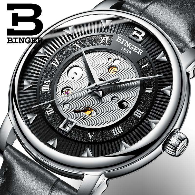 2017 New  Binger Business Mechanical Watches for Men Automatic Self-Wind Round Black Leather Strap 30m Water Resistant, , www.suppashoppa.co.uk