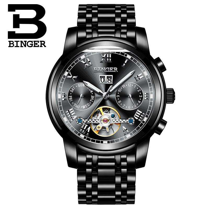 2017 New Watches BINGER Men Business Watch Automatic Mechanical Watch Steel Strap Luxury Brand Wristwatches relogio masculino