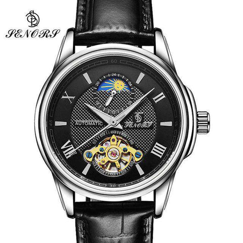 2017 Skeleton Tourbillon Mechanical Watch Automatic Men Classic Gold Leather Mechanical Wrist Watches Reloj Hombre Moon Phase